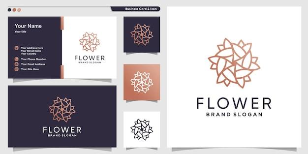 Résumé de logo de fleur créative avec style d'art en ligne vecteur premium