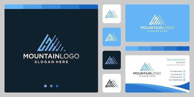 Résumé de logo de montagne créatif avec création de logo de lettre initiale h. vecteur premium