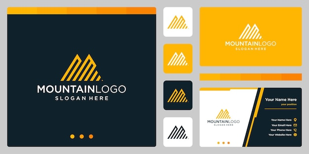 Résumé de logo de montagne créatif avec création de logo de lettre initiale n et m. vecteur premium