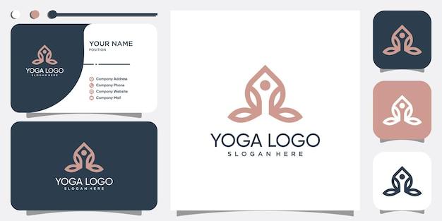 Résumé de logo de yoga avec le concept d'élément moderne vecteur premium