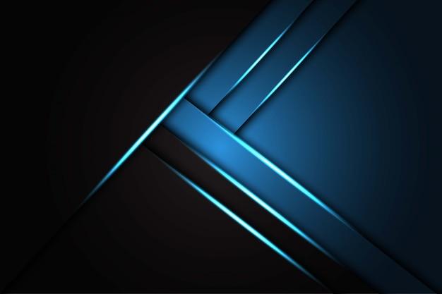 Résumé lumière bleue sur la texture métallique noire, fond futuriste de luxe moderne