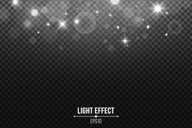 Résumé des lumières tombantes bokeh isolé. étoiles blanches brillantes et éblouissement. paillettes blanches.