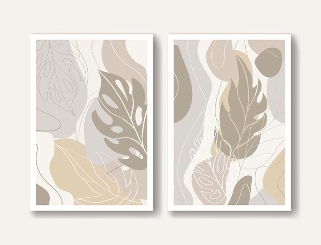 Résumé moderne avec des feuilles de monstera de couleur beige