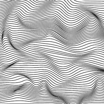 Résumé noir et blanc rayures ondulées fond