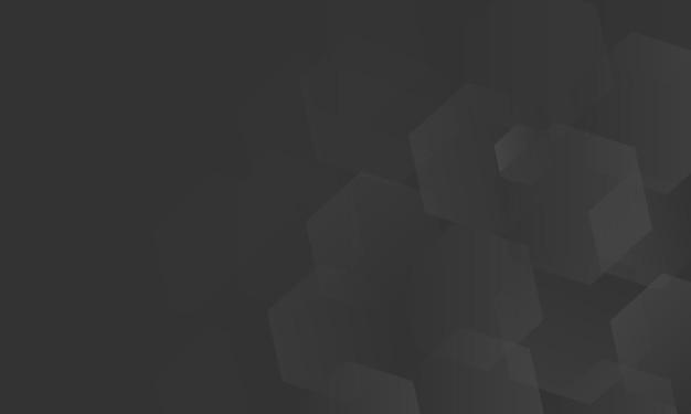 Résumé noir avec illustration vectorielle hexagonale