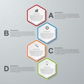 Résumé des options d'affaires hexagone 3d infographie.