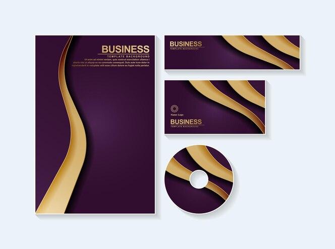 Résumé de papeterie d'affaires en couleur or violet