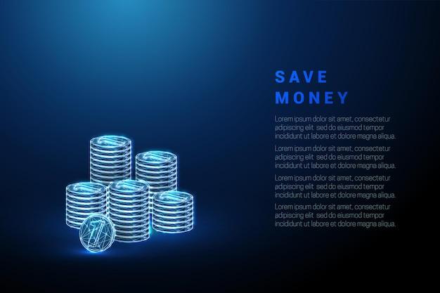 Résumé des piles de pièces bleues économiser de l'argent concept low poly style wireframe illustration vectorielle