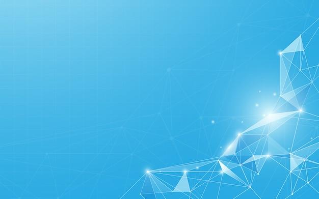 Résumé des points de connexion et des lignes de fond bleu
