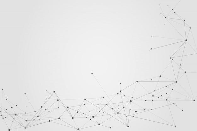 Résumé des points et des lignes de connexion, fond polygonal