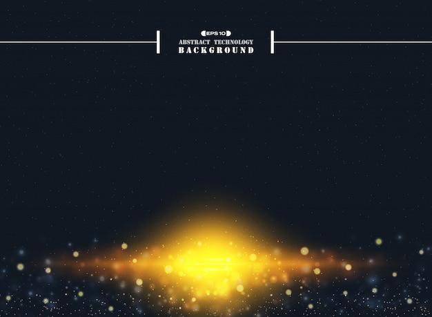 Résumé de la poussière d'étoile de l'univers avec la lumière éclate fond de paillettes