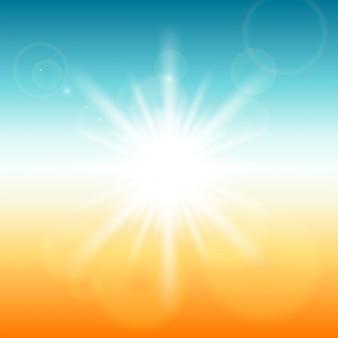 Résumé rayon de soleil et lumière parasite sur ciel bleu