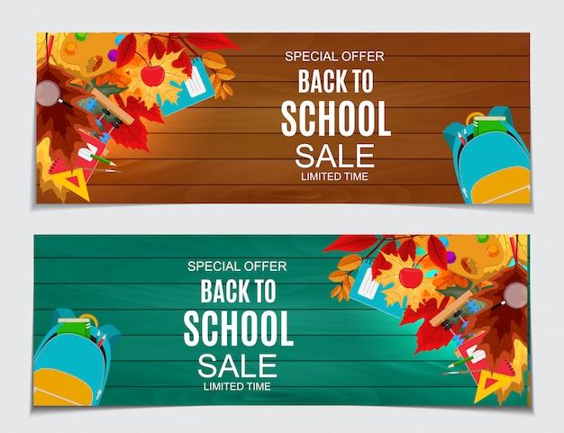 Résumé de retour à la bannière de vente scolaire avec la chute des feuilles d'automne