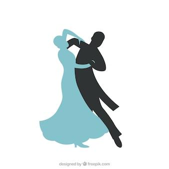 Résumé silhoutte d'un couple dansant