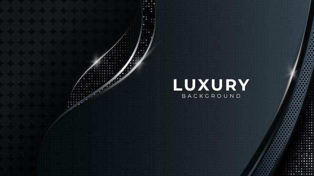 Résumé sombre avec des lignes courbes fond de vecteur avec des formes de platine argentées design de luxe moderne