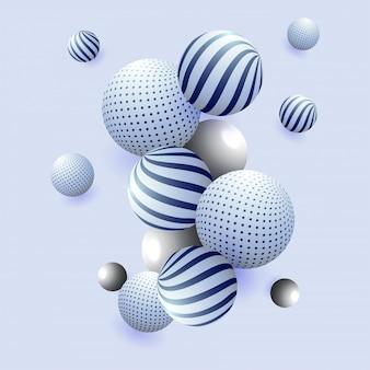 Résumé de sphères brillantes 3d sur fond bleu