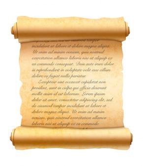 Résumé texte cursif manuscrit latin sur vieux défilement texturé sur blanc