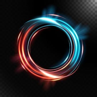 Résumé tourbillonnant lumineux coloré, isolé sur fond sombre.