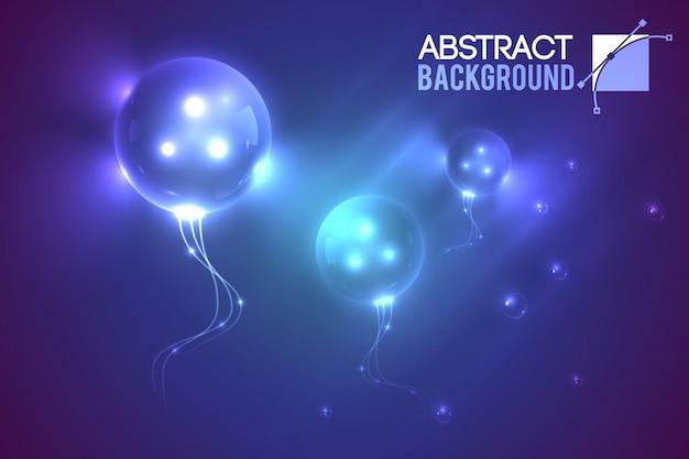 Résumé avec trois ballons luminescents en forme de bulles extraterrestres volantes dans l'illustration de l'environnement dégradé boueux