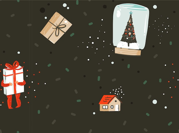 Résumé de vecteur dessiné à la main joyeux noël et bonne année temps dessin animé modèle sans couture nordique avec illustration mignonne de coffrets cadeaux surprise et personnages enfants isolés sur fond noir.