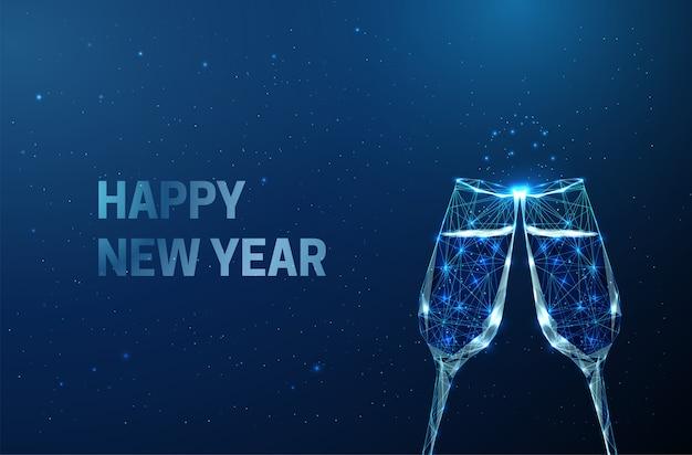 Résumé de voeux de nouvel an avec des verres clink. style low poly.