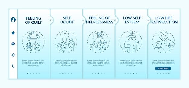 Retarder le modèle d'intégration des effets d'habitude des tâches. doute de soi. faible satisfaction dans la vie. sentiment d'impuissance. site web mobile réactif avec des icônes. écrans d'étape de visite virtuelle de la page web. concept de couleur rvb