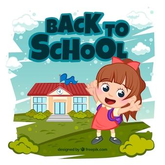 Retour à l'arrière-plan de l'école avec un étudiant heureux
