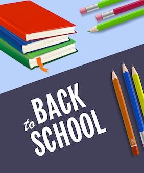 Retour à l'affiche de l'école avec des cahiers