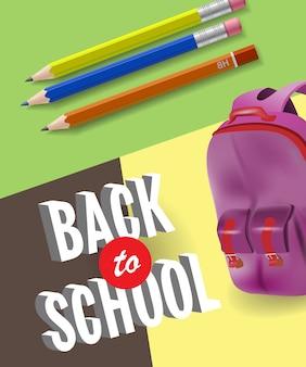 Retour à l'affiche de l'école avec sac à dos