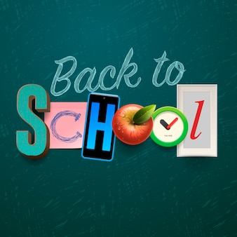 Retour à l'affiche de l'école, texte fait dans le style d'artisanat de collage, illustration.