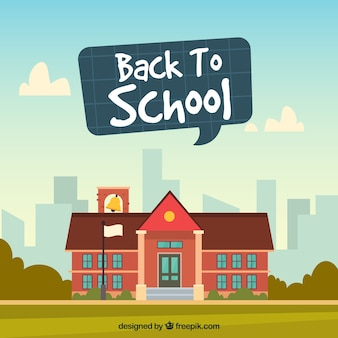 Retour à l'arrière-plan de l'école avec le bâtiment