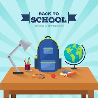 Retour à l'arrière-plan de l'école avec bureau