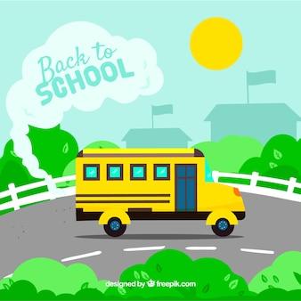 Retour à l'arrière-plan de l'école avec le bus