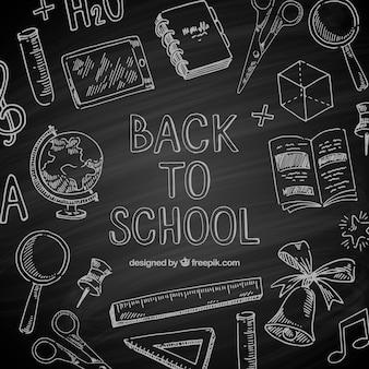 Retour à l'arrière-plan de l'école dans le style tableau noir