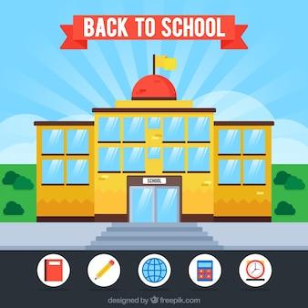 Retour à l'arrière-plan de l'école avec un design plat