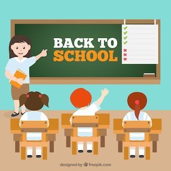 Retour à l'arrière-plan de l'école avec les enfants