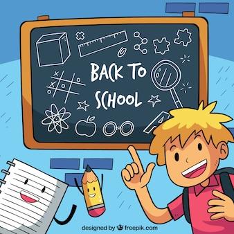 Retour à l'arrière-plan de l'école avec étudiant dessiné à la main
