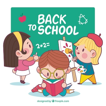 Retour à l'arrière-plan de l'école avec les étudiants
