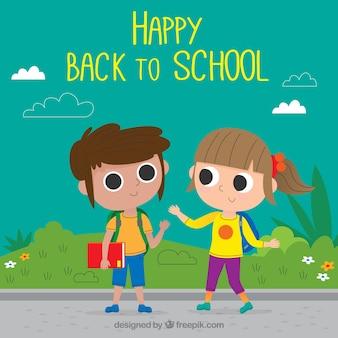 Retour à l'arrière-plan de l'école avec un garçon et une fille
