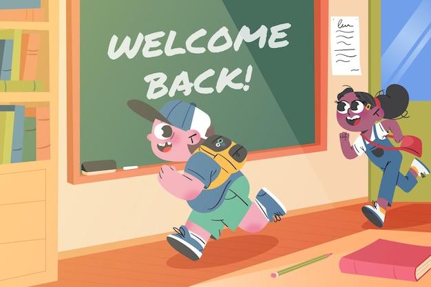 Retour à l'arrière-plan de l'école à la main