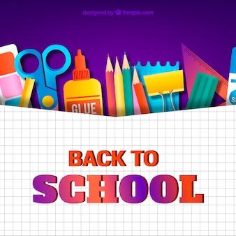 Retour à l'arrière-plan de l'école avec des outils