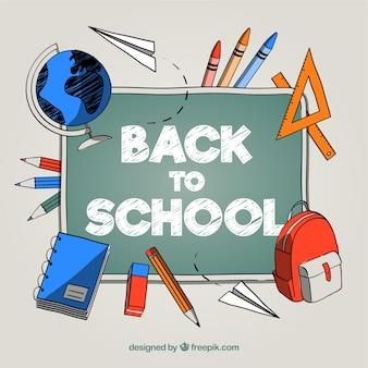 Retour à l'arrière-plan de l'école avec style dessiné à la main