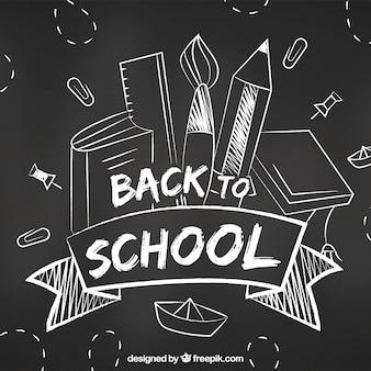 Retour à l'arrière-plan de l'école avec le style tableau noir