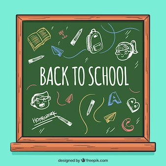 Retour à l'arrière-plan de l'école avec tableau noir