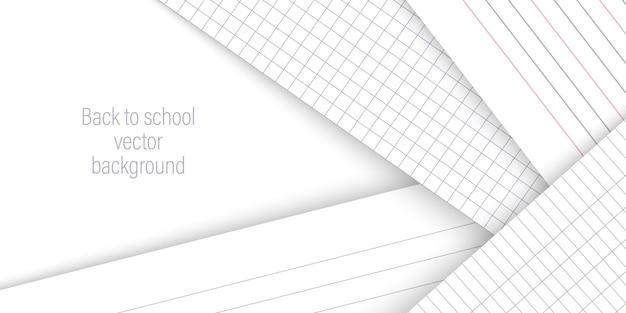 Retour à l'arrière-plan horizontal de l'école avec des pages