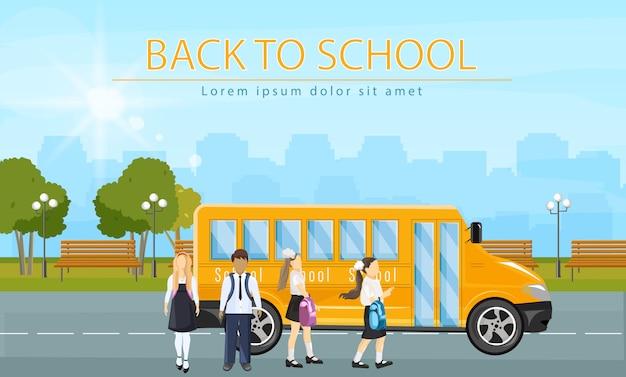 Retour au bus scolaire. enfants en cours d'exécution pour entrer dans l'illustration de style plat d'autobus scolaire