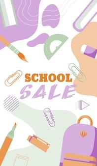 Retour au concept de bannières de vente d'école dans un style plat pastel