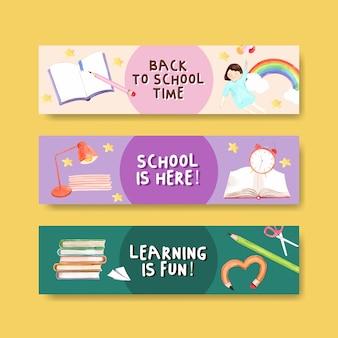 Retour au concept d'école et d'éducation avec modèle de bannière pour brochure et aquarelle marketing