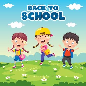 Retour au concept de l'école avec des enfants drôles
