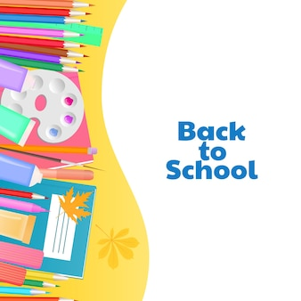 Retour au concept de l'école. fournitures pour l'enseignement et la créativité des enfants.